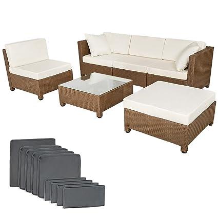 TecTake SET DI MOBILI RATTAN ARREDAMENTO GIARDINO SET COMPLETO + 2 set di rivestimenti per i cuscini per poter effettuare il ricambio (beige/grigio)