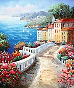 Modern Abstract Oil Painting on Canvas Wall Art Home Decoration Mediterranean Sea Resort Town Island Seascape (24 x 36 Inch (61 x 91 CM))