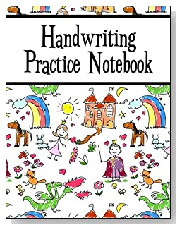 Handwriting Practice Notebook For Kids - Younger kids will love the storyland scene with prince, princess, castle, horse and rainbow that covers this handwriting practice notebook for young children.