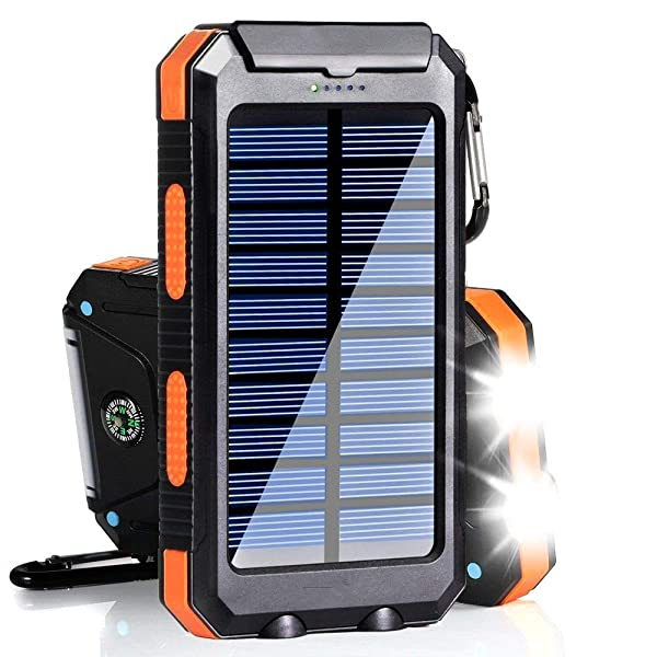 Solar Charger Power Bank 20000mAh LED Flashlight SOS Mode Outdoor Portable Waterproof Solar Battery USB Output For Adventure Camping Backpacking Emergency Charger Solar Energy Generation Orange