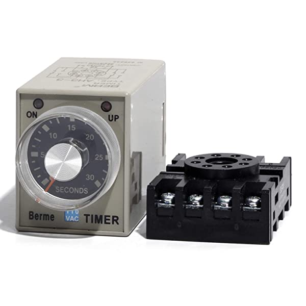 0-30 Seconds AH3-3 Delay Off Timer Relay Switch AC 110V with Base 110V (Tamaño: 30S)