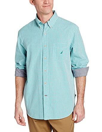 Nautica men 39 s seersucker gingham shirt wave green x for Mens seersucker shirts on sale
