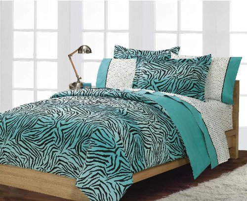 zebra print bedding:Boys or Girls Teen Exotic Turquoise Black Zebra Print