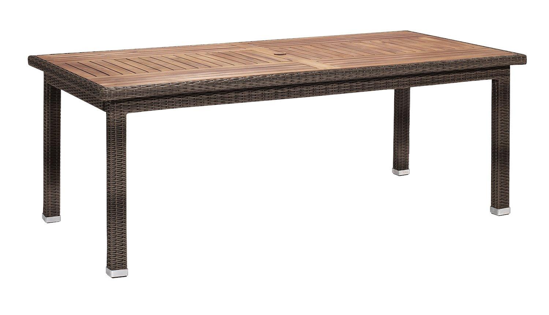 Gartenfreude Tisch Polyrattan, Aluminiumgestell mit Akazienholz, Cappuccino, 200 x 100 x 75 cm (LxBxH) kaufen