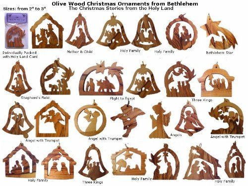 12 Olive Wood Christmas Ornaments