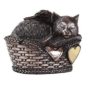 Pet Memorial Angel Cat Sleeping In Basket Cremation Urn Bronze Finish Bottom Load 30 Cubic Inch