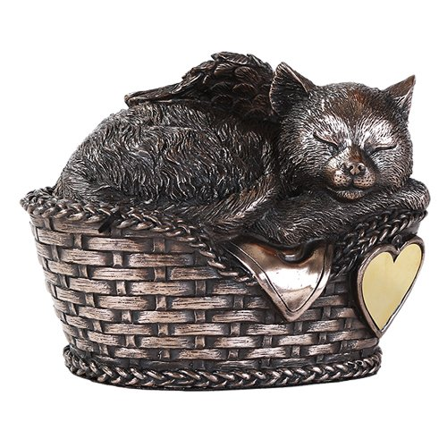Pet Memorial Angel Cat Sleeping In Basket Cremation Urn Bronze Finish Bottom Load 30 Cubic Inch by Windhaven Urns (Angel Cat Urn compare prices)