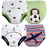 MOM & BAB Toddler Training Pants/Underwear. Water-resistent|Best Quality|Machine Washable & Reuable|Soft Cotton|Comfortable Fit|3 layers(Medium, Airplane/Soccer)