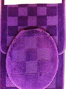 Amazon Com 3 Piece Bath Rug Set Purple Bathroom Rugs Mat