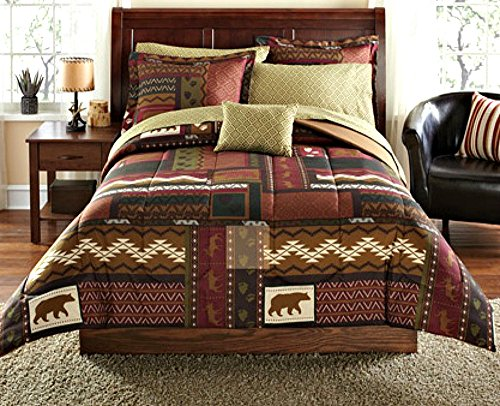 Southwest Cabin Bear Lodge Twin Comforter Set (6 Piece Bed In A Bag)