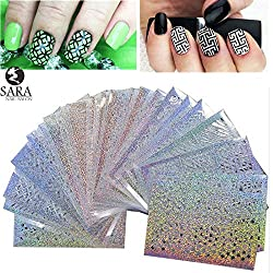 New Sara Nail Salon 24Sheets Vinyls Print Nail Art DIY Stencil Stickers For 3D Nails Leaser Template Stickers Supplies STZK01-24