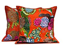 2 Orange Indian Kantha Stitch Handmade Floral Decorative Throw Pillow Cases Cushion Covers