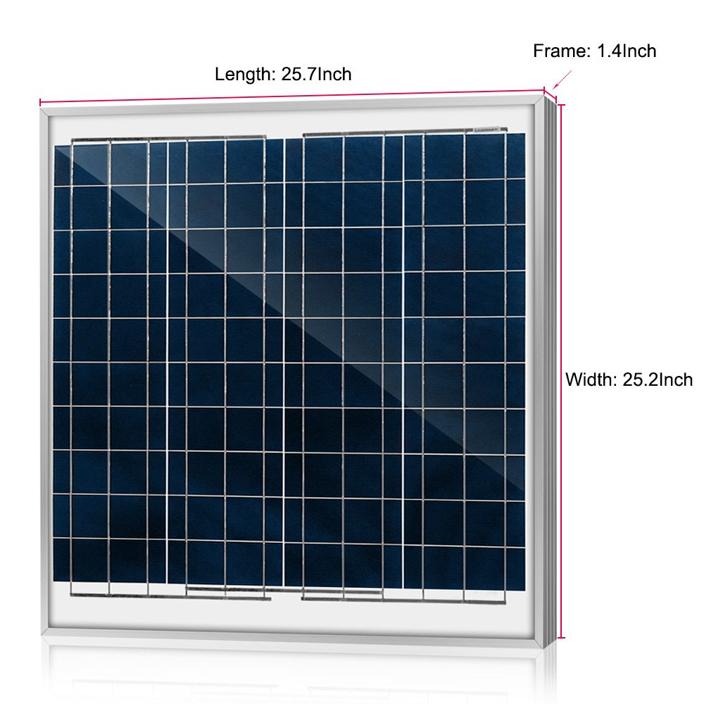 ACOPOWER 60 Watt 60W Polycrystalline Photovoltaic PV Solar Panel Module with MC4 for 12 Volt Battery Charging