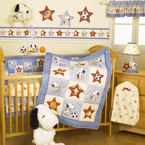 Bedtime Originals Champ Snoopy 4-Piece Baby Crib Bedding Set, Blue