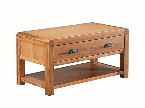 Oakville rovere massello Storage–Tavolino da salotto in rovere massiccio tavolino con cassetto grande e tavolino con ripiano–rovere–Finitura: Rovere rustico–salotto