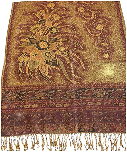 Gold & Maroon Deosai Design 2 Ply Reversible Shawl Scarf NEW