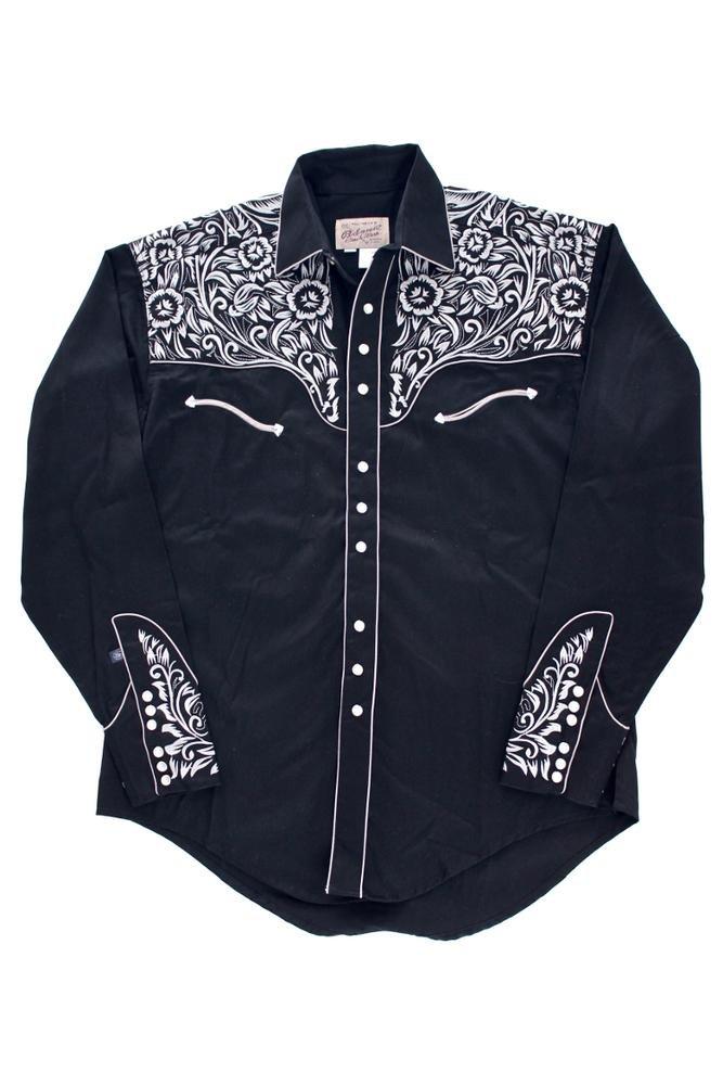 Rockmount Vintage Tooling Embroidery Western Shirt Black 6859-BLKSILVER 0