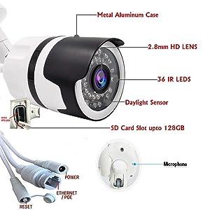 Microseven 1080P HD WiFi Outdoor Camera, Alexa, Audio, 128GB SD Card