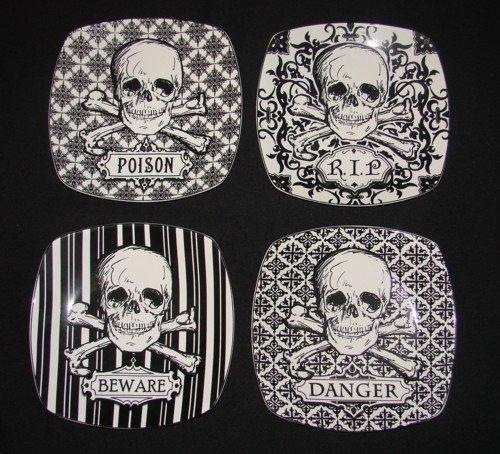 "222 Fifth Halloween Skulls Crossbones 6"" Snack Party Appetizer Plates Graphic Black & White Porcelain, Set Of 4 Designs: Rip, Beware, Poison, Danger"