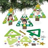 Kit portafoto in legno con albero di Natale per bambini - Attività creativa natalizia fai da te - Attività creativa con decorazioni da appendere per bambini (confezione da 4)