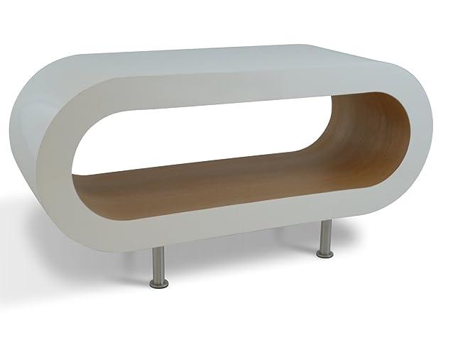 Medio Retro Bianco e Rovere 90cm Cerchio Caffè Supporto da Tavolo / TV Con i Piedi