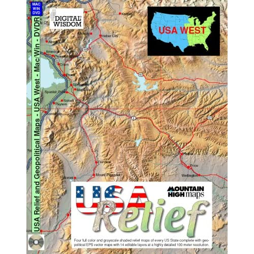 USA Relief Mountain High Maps, Version 4.0: Eastern States Digital Wisdom
