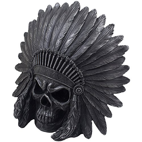 Home-n-Gifts Scary Native American Indian Skull Statue in Metallic Look  Headdress for Spooky Skeleton Halloween Decorations or Gothic Southwestern