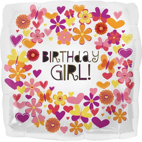 18 Inch Butterfly Birthday Girl Foil Balloons