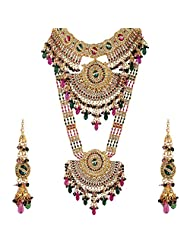 Lucky Jewellery Rani And Green Gold Plated Bridal Jewellery Set For Women