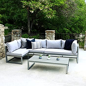 WE Furniture All-Weather 4 Piece Patio Conversation Set, Grey