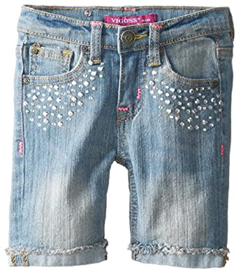 Vigoss Little Girls' Diamond Sprinkle Bermuda, Dusty Blue, 6