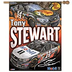 NASCAR Tony Stewart Bass Pro and Mobil 1 Vertical Flag, 27 x 37-Inch by WINAV