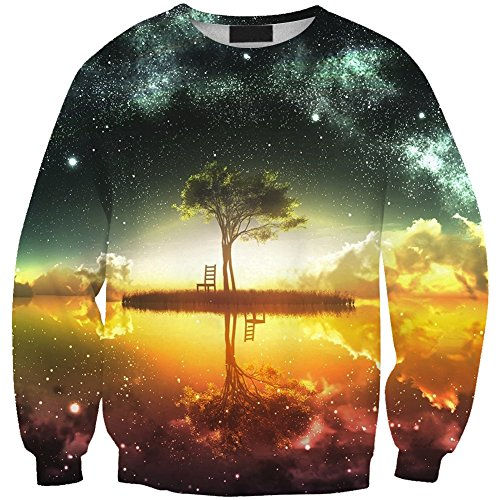 girls-printed-tree-under-starry-sky-sweatshirt-crew-neck-pullover-long-sleeve-slim-fit-one-size
