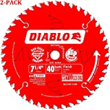 D0740A Diablo 7-1/4 40 Tooth ATB Finishing Saw Blade with 5/8-Inch Arbor, Diamond Knockout, and PermaShield Coating (2-Pack)