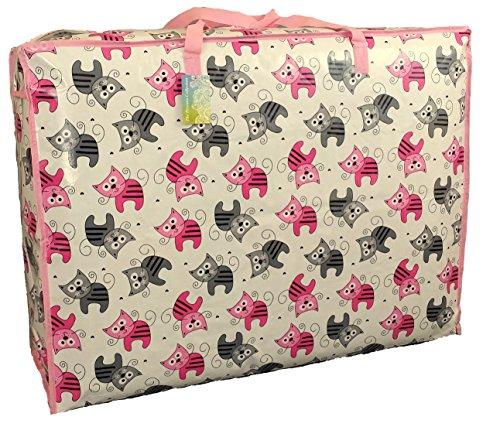Super grand sac de rangement de 115 litres. Rose et chatons gris motif. Toy sac, le lavage et le sac à linge
