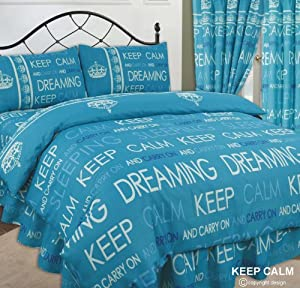Keep Calm & Carry On Dreaming / Sleeping, Teal / Blue / Navy / White, Double Bed Duvet / Quilt Cover + Fitted Valance Sheet + 2 Pillowcases Complete Bedding Set