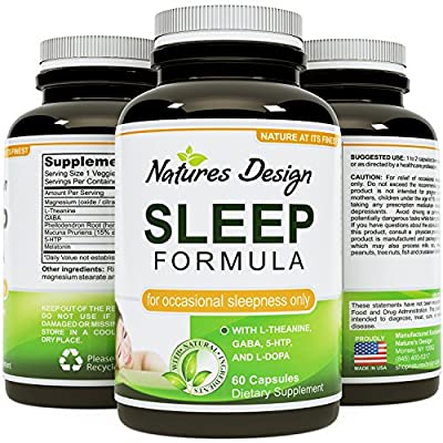 Natural and Effective Sleep Formula - Contains Pure Melatonin Sleep Enhancers, Potent and Safe Magnesium, and GABA (gamma-Aminobutyric Acid) Relaxants - Fall Asleep Fast and Stay Asleep with Our Unique Blend of Proven Natural Sleeping Aids - No Harsh Side