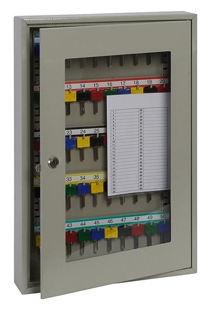 Phoenix KC0403K Gris caja portallaves y organizador - Armario para llaves (Gris, 50 Colgador(es), Llave, 380 x 80 x 550 mm)