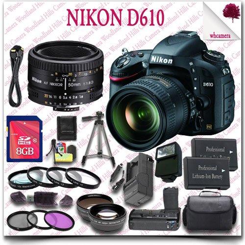 "Nikon D610 Digital Slr Camera With 24-85Mm Af-S Ed Vr Lens + Nikon 50Mm D Af Lens + 8Gb Sdhc Card + Wide Angle Lens / Telephoto Lens + 3Pc Filter Kit + Close Up Macro Set + Hdmi Cable + Slr Gadget Bag + 57"" Tripod + External Slave Flash 26Pc Nikon Saver B"