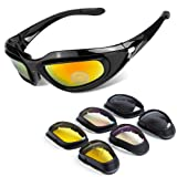 BELINOUS Polarized Motorcycle Riding Glasses, Tactical Glasses w/Black Frame 4 Lens Kit Copper Smoke Clear Yellow for Sports Outdoor Activities Cycling Hiking Climbing Skiing Hunting Fishing Driving (Color: Bright Black)