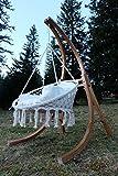 DESIGN Hängesesselgestell Hängesessel aus Holz Lärche Modell: CATALINA komplett mit großem Stoffsessel von AS-S