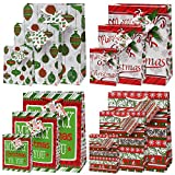 12 Pack Christmas Bags in 4 Assorted Designs, 3 Different Sizes; 4 Small, 4 Medium & 4 Large Bags by Gift Boutique
