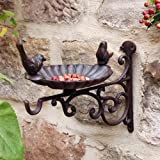 Outdoor Garden Cast Iron Hanging Basket Bird Bath Wall Mounted Hook Bracket 29cm