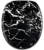 WC Sitz mit Absenkautomatik, hochwertige Oberfläche, einfache Montage, stabile Scharniere, Marmor Schwarz
