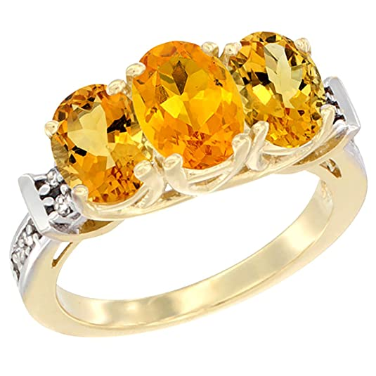 14ct Yellow Gold Natural Citrine Ring 3-Stone Oval Diamond Accent, sizes J - T