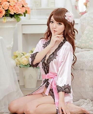 Women Bath robe Pajamas With Thong Underwear