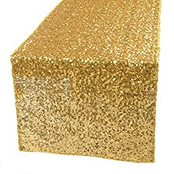 Christmas Decorative Sequins Embroidered Wedding/Banquet/Party Table Runner/Table Cloth by Kevin Textile, 14'x108', Gold