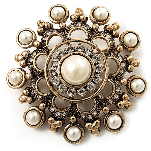 Antique Gold Filigree Simulated Pearl Corsage Brooch 1