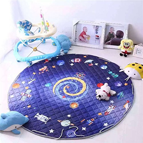 TRUEDAYS 5 X 5 Feet Baby Cartoon Children Play Mat Crawling Cotton Anti-slip Portable Floor Rug for Kids(4.92 by 4.92 feet)