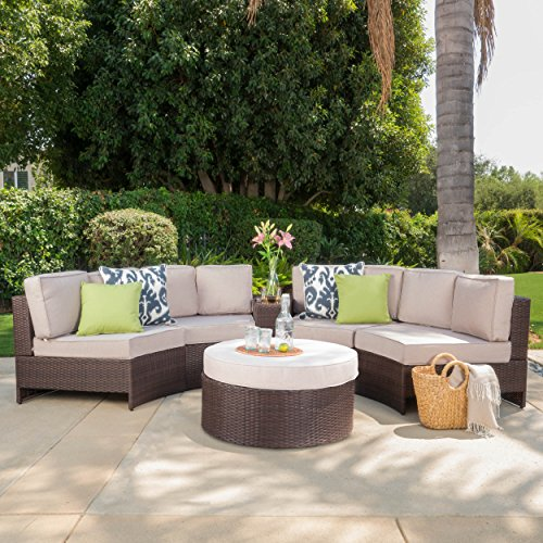 Riviera portofino outdoor patio furniture wicker 6 piece for Home design 6 piece patio set